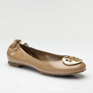 "TORY BURCH EUC ""Reva"" Sand Patent Leather Flats"